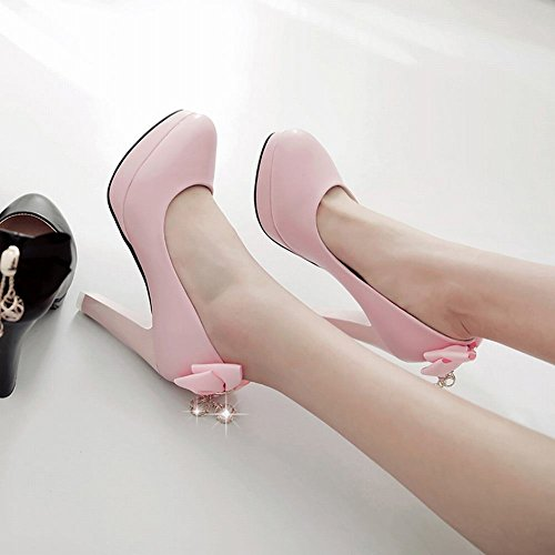 Mee Shoes Damen High Heels mit Schleifen Plateau Pumps Pink
