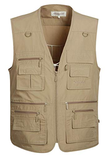 Gihuo Men's Summer Cotton Leisure Outdoor Pockets Fish Photo Journalist Vest Plus Size (Medium, Khaki) ()