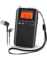 Mini Am FM Radio Digital portátil con Reloj Despertador y Temporizador de Apagado automático, Altavoz o Auriculares para Interiores o a pie