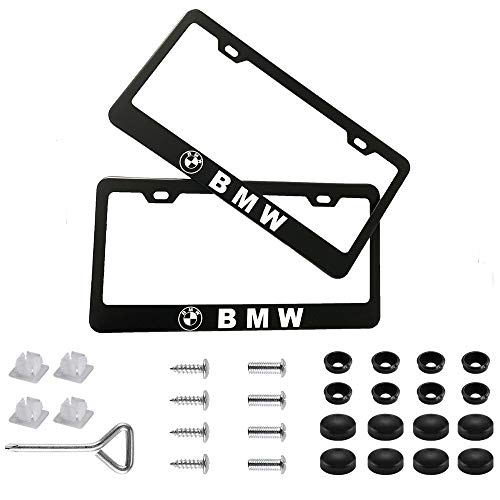 (Auto sport 2pcs License Plate Frames with Screw Caps Set Stainless Steel Frame Applicable to US Standard Cars License Plate Fit BMW Accessory)