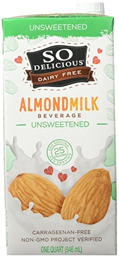 So Delicious Dairy Free Almondmilk Beverage Unsweetened 32 oz (Pack of 6), Dairy Soy Cashew and Coconut Alternative Unsweetened Milk Drink, Shelf-Stable Aseptic Packaging