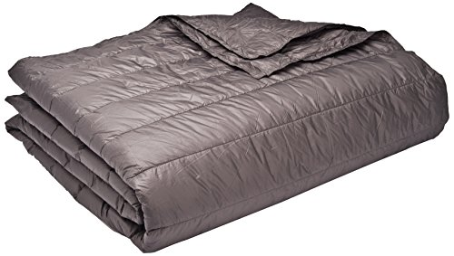 PUFF Down Alternative Indoor/Outdoor Water Resistant Blanket with Extra Strong Nylon Cover, Full/Queen, Pewter