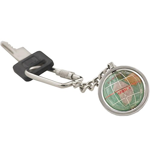 (KALIFANO Gemstone Globe with Peridot Green Opalite Ocean showcased on a Bright Silver Keychain)