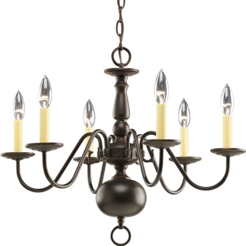 Progress Lighting P4356-20 6-Light Americana Chandelier with Delicate Arms and Decorative Center Column and Candelabra Lamps, Antique ()