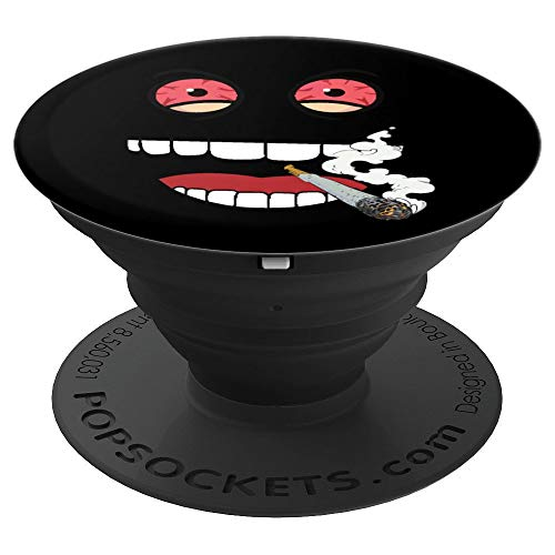 Designs Stoned (Stoned Monster Face Red Eyes Design - Funny Weed Face - PopSockets Grip and Stand for Phones and Tablets)