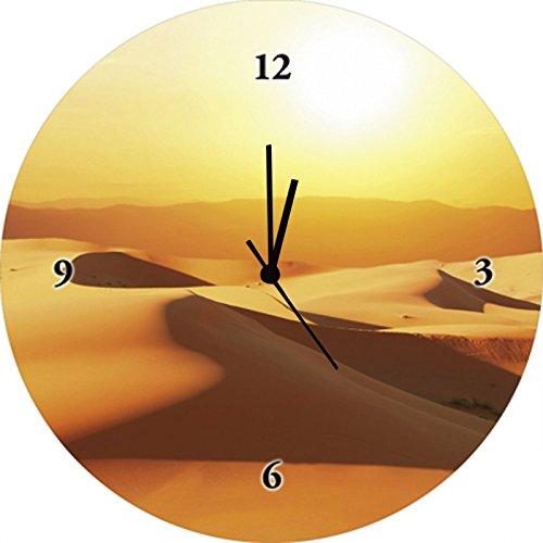 Artland Qualitätsuhren I Funk Wanduhr Designer Uhr Glas Funkuhr Größe: 35 Ø Wüste Orange G3EO