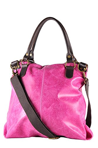 Vera Vintage LISA da Donna 100 Pelle Fucsia Borsa in Italy in Made Stile BORDERLINE 8FqZA
