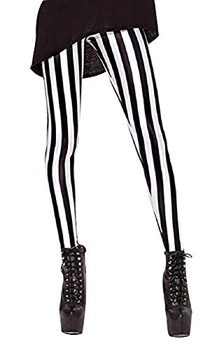QZUnique Women's Vertical Black and White Stripe Print Shaping Footless Leggings -