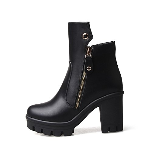 High Zipper Boots PU Heels Round Black Closed Toe Solid Allhqfashion Women's zxOEqwnf8w