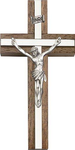 Icecarats Créatrice De Bijoux 4 Pouces Argent Antique Crucifix, Noyer W / Argent Finition Marqueterie 4 X 2 Pouces