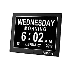 Metal Digital Calendar Day Clock- Kitchen Wall Alarm Clock- Extra Large Impaired Vision with Backup Battery & 8 Alarms for Memory Loss Seniors/Elderly