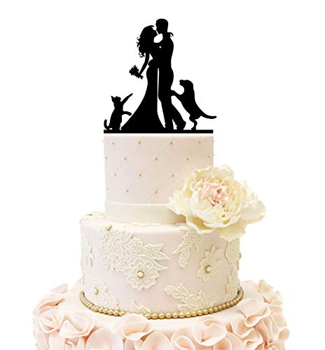 Wedding Anniversary Family Cake Topper Bride Groom couple with a Cat and a Dog (Black)
