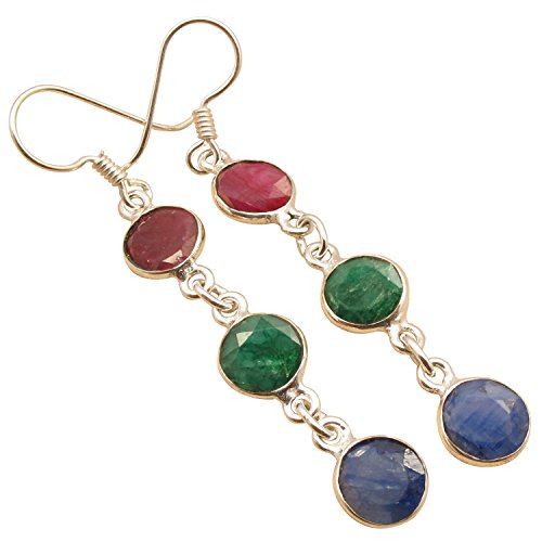"925 Sterling Silver Plated RUBY, EMERALD & SAPPHIRE Ethnic Earrings 2 1/2"" ! Online Jewelry Store"
