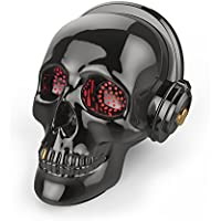 Skull Bluetooth Speaker SADAN LED Wireless Skeleton Speakers Super Bass Stereo Sound Cool Design with Eyes Light for Halloween Unique Gift Home Party Traveling&Outdoor (Gray)