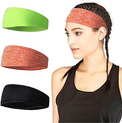 3PCS Sports Headband Yoga Running Workout Hair Band Moisture Wicking Sweatband
