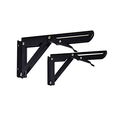 Eforlike 2 Pcs Heavy Duty Black Folding Spring Loaded Supports Shelf Brackets (Large) by Eforlike