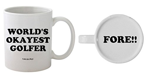 Funny Guy Mugs World's Okayest Golfer Ceramic Coffee Mug, White, 11-Ounce