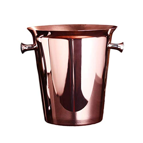SHIJIAN Ice Bucket Stainless Steel Ice Buckets,Thickened single layer Wall Insulated ice bucket,Wine Ice Buckets for Paties and Bar,Outdoor Camping Rose gold Ice Buckets