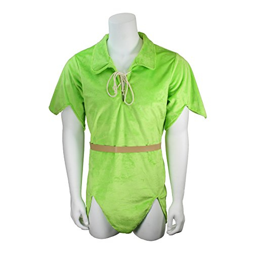 Men's Deluxe Peter Pan Costume Plush Tunic and Belt, Green (XX-Large) - Adult Deluxe Peter Pan Costumes