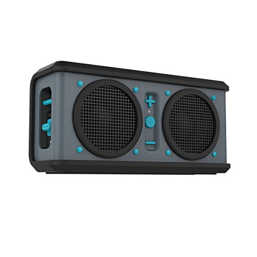 Skullcandy Air Raid Water-resistant Drop Proof Bluetooth Portable Speaker, Grey, Black and Hot Blue