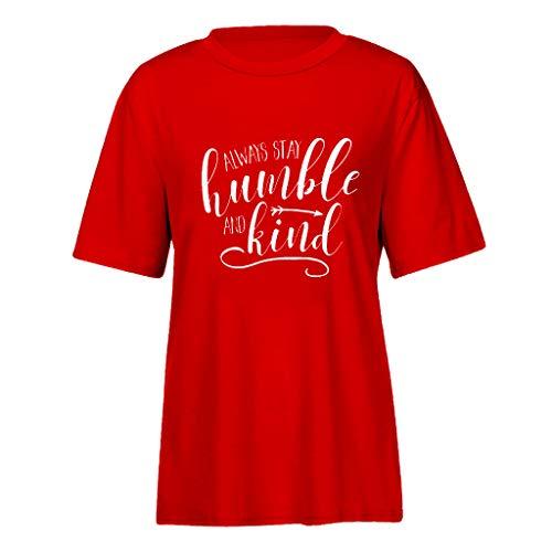 Blouses for Women Fashion 2019,YEZIJIN Fashion Women Letter Print Short Sleeve Shirt Lady Summer Casual Tee Tops Red -