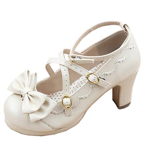 Partiss Damen Gothic Lolita High-top Casual Schuhen PU Pumps Herbst Fruehling Hochzeit Tanzenball Maskerade Cosplay Kreuz Platform Pumps Lolita Shoes,36,Black