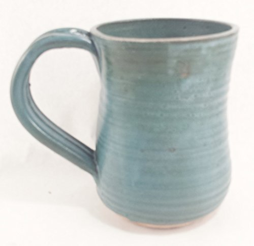 Aunt Chris' Pottery - Limited Edition - Hand Made Clay Drinking Mug/Cup - Blue Green Glazed - Primitive Vintage Style - Large Looped Handle - With a Natural Stone Base
