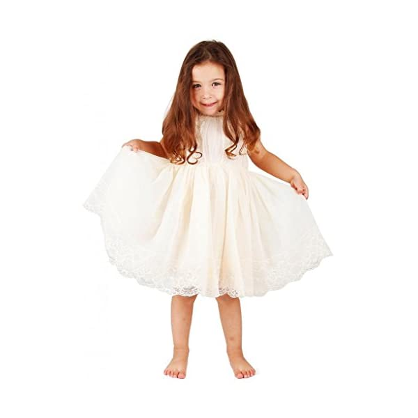 1409b22b4d0 Bow Dream Ivory Off White Lace Vintage Flower Girl s Dress