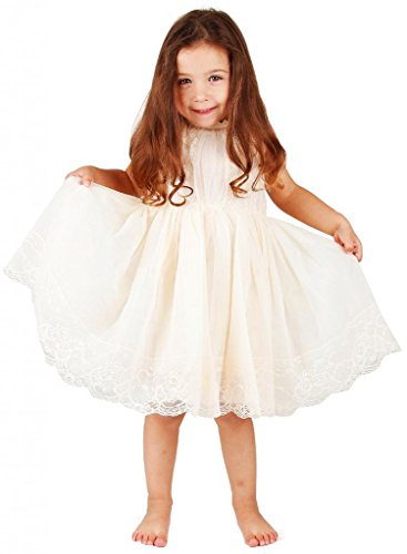 Bow Dream Flower Girl's Dress Lace Ivory 3T