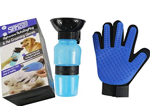 SIAMZ PRO SERV Dog Water Bottle , Gentle Deshedding Brush Glove, Hair Remover Gentle Pet Grooming Glove, Dog Water Dispenser Travel, Portable Dog Bowl,Features: Very useful,Size: Medium ,Color : Blue