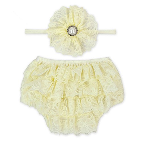 Rush Dance Lace Ribbon Baby Ruffle Bloomers Diaper Covers & Headband (Large (12-24M), Ivory) by Rush Dance