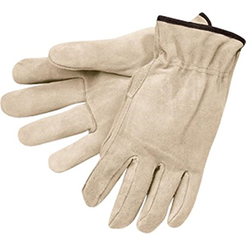 MCR Safety 3120L Regular Grade Cow Split Leather Driver Unlined Men's Gloves with Straight Thumb, Natural Pearl Gray, Large, 1-Pair Memphis Split Leather Driver