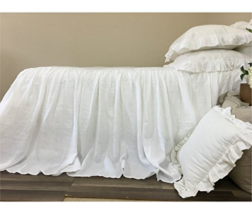 White Bedspreads handmade in natural linen, White Bed Covers, White Bedding, White Bedspread, Linen Coverlet, Shabby Chic Bedding, Luxury Bedding, Queen Bedspread, King Bedspread, Twin Bedspread by SuperiorCustomLinens