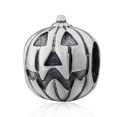 Halloween Pumpkin Charms 925 Sterling Silver Jack-o-lantern Beads for DIY Charms Bracelet (C)