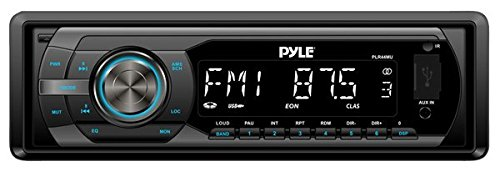 (Universal Car Stereo Headunit Receiver - 12V Single DIN Style Digital Automobile Indash Radio System w/ MP3, USB, SD, AUX, RCA, AMFM Radio - Remote Control, Power Wiring Harness - Pyle PLR44MU (Black))