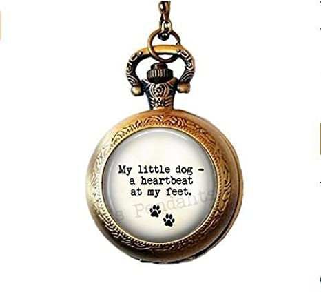 Amazoncom Stap Dog Lover Pocket Watch Necklace My Little Dog A