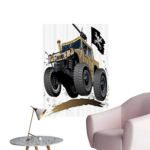 Vinyl Wall Stickers Worldwide Known Off Road mous Safari Rally Truck with Skull Pirate Flag Camouflage Perfectly Decorated,28