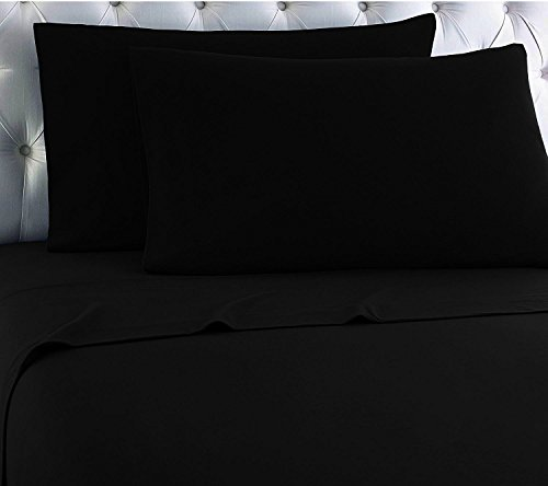 Empire Home Heavy Winter Flannel 100% Cotton Sheet set Fitted Flat Pillow Cases Deep Pocket (Midnight Black, King Size)