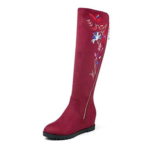 femmes décontractées décontractées pour genou bottes hauteur au KingRover genou brodées Bottes fawqvqg