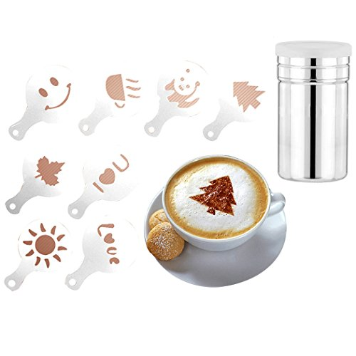 SIPLIV Coffee Art Tool Kit 60 Pcs Different Kinds of Patterns Coffee Decorating Stencils and A Stainless Steel Cocoa Powder Shaker with Fine-Mesh Lid For Baking Cooking Home Restaurant