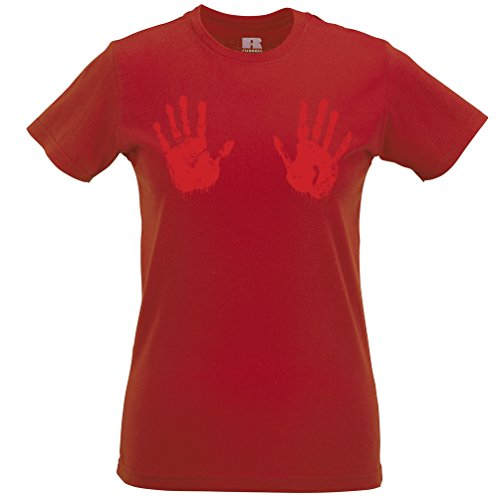 Halloween Womens Tee Scary Bloodied Hand Prints Red XL]()