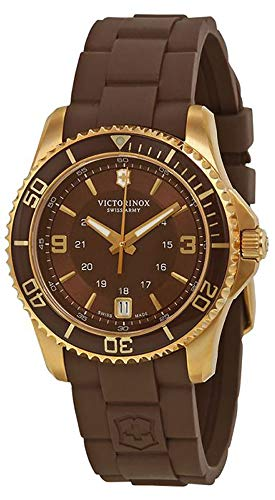 Victorinox Women's 'Maverick' Swiss Quartz Titanium and Rubber Casual Watch, Color:Brown (Model: 241615)