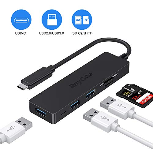 USB C Hub, 5 in 1 Type C Adapter for MacBook with 3 USB 3.0, SD/TF Card Reader, Suitable for All Type C Computers and Mobile Phones USB C Output (5 In 1 Usb)