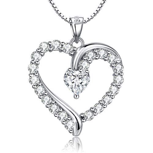 Heart Shaped Diamond Pendant Necklace - Annie & Kevin 925 Sterling Silver Heart Necklace Cubic Zirconia Love Heart-Shaped Simulated Diamond Pendant Jewelry Gift Box for Women Girls