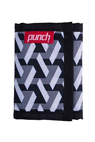 Trifold nylon wallet. Durable non leather, weather proof, ballistic nylon, fabric wallet. Punch (White Brick)
