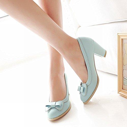 Latasa Womens Cute Bow Chunky Mid Heel Casual Pumps Scarpe Blu Chiaro