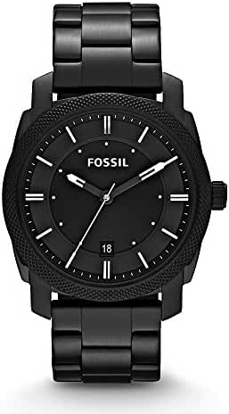 Fossil FS4775 Machine Three Hand Stainless Steel Watch Black