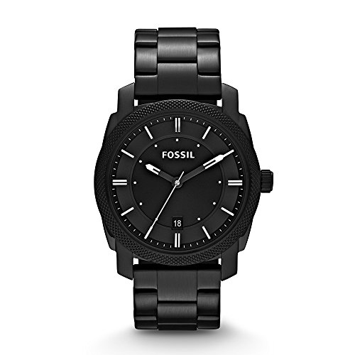 Fossil Men's Machine Quartz Stainless Steel Dress Watch, Color: Black (Model: FS4775)