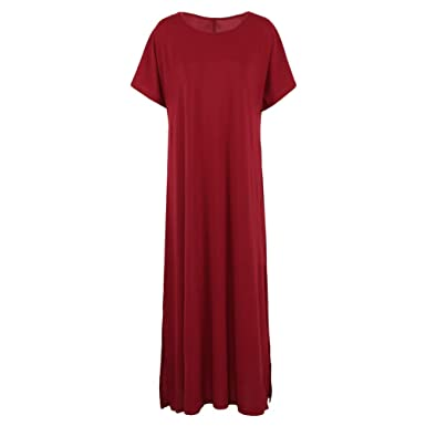 cc4ee731d565 3XL 4XL 5XL Plus Size Summer Dress 2019 Women Casual Loose Long Maxi Dress  Solid Split