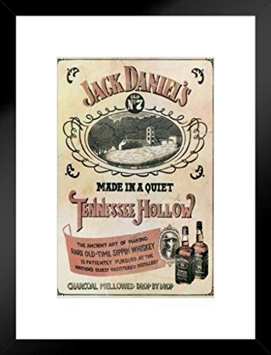 Pyramid America Jack Daniels Tennessee Hollow Vintage Advertisement Sippin Whiskey Matted Framed Wall Art Print 20x26 inch